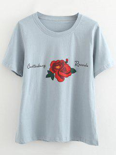 Cotton Rose Side Slit T Shirt - Light Blue