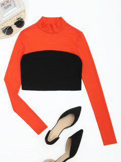 Mesh Panel Contrast High Neck Crop Tee - Black And Orange M