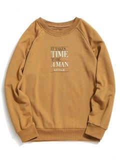 Time Graphic Crew Neck Sweatshirt - Khaki 2xl