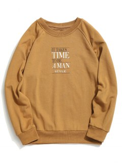 Time Graphic Crew Neck Sweatshirt - Khaki S