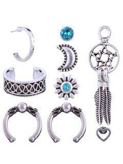Rhinestone Moon Floral Heart Stud Clip Earring Set - Plata