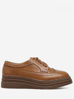 Faux Leather Platform Wingtip Shoes - Light Brown 35