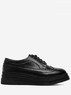Faux Leather Platform Wingtip Shoes - Black 37