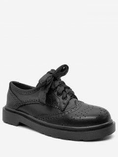 Wingtip Round Toe Flat Shoes - Black 36