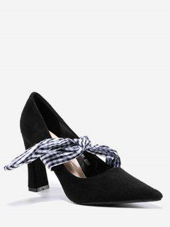 Tie Up Bowknot Pointed Toe Pumps - Black 35