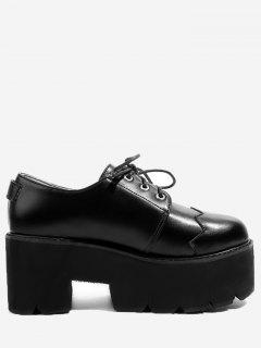 Buckle Embellished Platform Shoes - Black 35