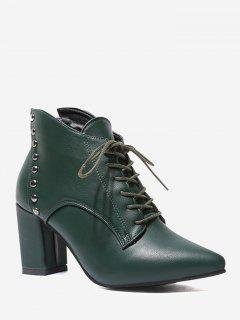 Chunky Heel Studs Pointy Toe Boots - Green 38
