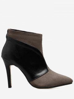 Faux Leather Panel Stiletto Heel Boots - Cappuccino 39