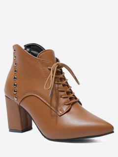 Chunky Heel Studs Pointy Toe Boots - Light Brown 39