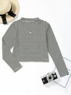 Keyhole Neck Striped Cropped Tee - Black Stripe M