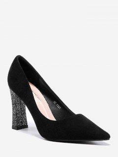 High Heel Glitter Pointy Toe Pumps - Black 37