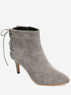 Pointy Toe High Stiletto Heel Boots - Gray 37