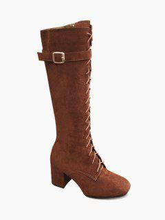 Lace Up Chunky Heel Mid Calf Boots - Deep Brown 35