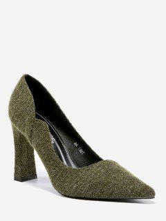 Pointy Toe High Block Heel Pumps - Green 35