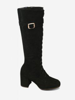 Lace Up Chunky Heel Mid Calf Boots - Black 35