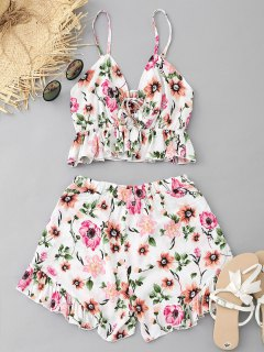Floral Bralette Top And High Waisted Ruffles Shorts Set - White L