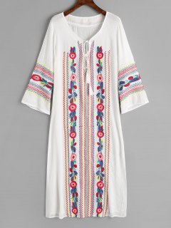 Long Sleeve Embroidered Tassels Maxi Dress - White