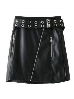 Studded Zip Up Faux Leather Mini Skirt - Black L