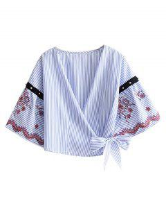 Wrap Gestickte Gestreifte Bluse - Streifen