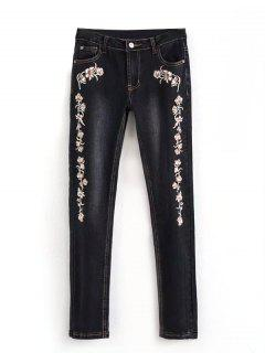 Bleach Wash Embroidered Pencil Jeans - Black 40