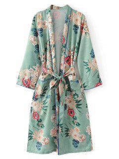 Pajamas Floral Belted Side Slit Blouse - Light Green M