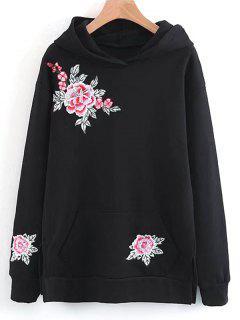 Sweat à Capuche Brodé Floral à Fente Latérale - Noir M