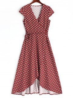 Asymmetrical Polka Dot Wrap Maxi Dress - Wine Red L