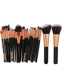 22Pcs Ultra Soft Fiber Hair Makeup Brush Set - Black+golden