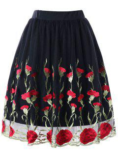 Falda De Bordado Floral Más El Tamaño - Negro 5xl
