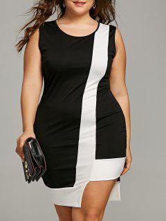 Plus Size Two Tone Ärmelloses, Figurbetontes Kleid - Schwarz 5xl