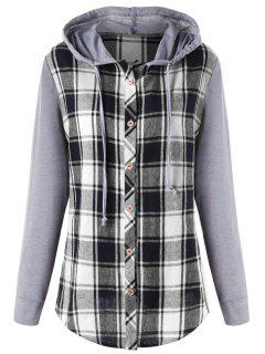 Plus Size Hooded Plaid Panel Long Sleeve Top - Black White Xl