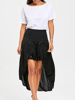 Lace Up Overlay Flowy Skirt - Black M