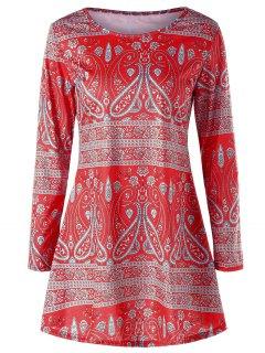 Paisley T-shirt à Manches Longues - Rouge Xl