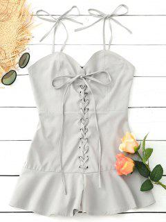 Ruffles Smocked Back Lace Up Romper - Light Gray Xl