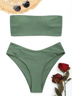 Bandeau High Cut Plus Size Bikini - Army Green Xl