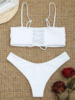 Cami Padded Back Lace Up Bikini - White S