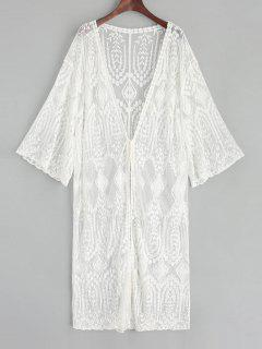 Sheer Tie Front Leaf Embroidered Kimono Cover Up - White