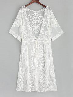 Kimono De Plage En Tulle Brodée Et Attaches Sur Le Devant - Blanc