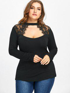 Plus Size Lace Insert Keyhole Top - Black 5xl