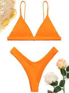 Soft Gepolstert Spaghetti Riemchen Tanga-Bikini-Set - Orange M