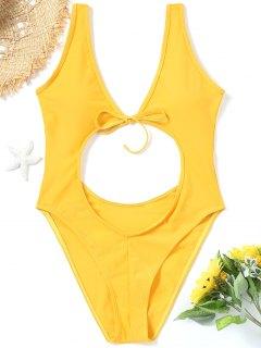 One-piece Cut Out High Leg Swimwear - Yellow M