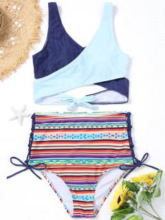 Wrap Bikini Top With Printed High Waisted Bottoms - S