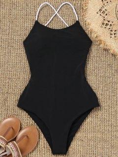 Strappy High Cut Plaited One Piece Swimwear - Black L