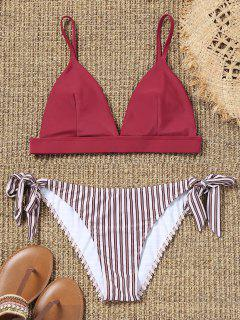 Cami Bra And Striped Tie Side Swim Briefs - Red M