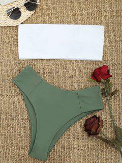 High Cut Two Tone Bandeau Bikini Set - Army Green M