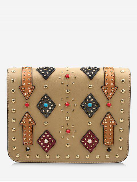 shops Geometric Rivets Color Block Crossbody Bag -   Mobile