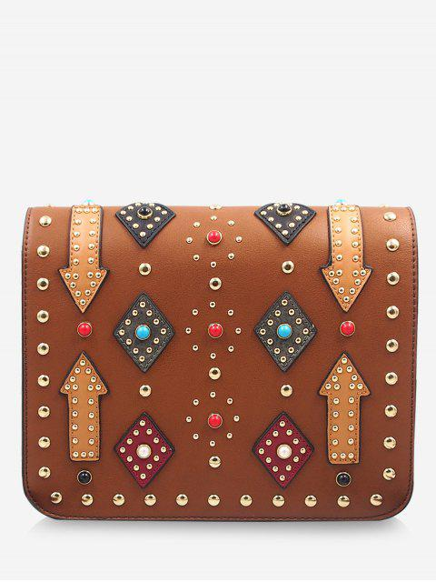 fancy Geometric Rivets Color Block Crossbody Bag -   Mobile