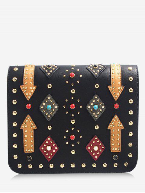 womens Geometric Rivets Color Block Crossbody Bag - BLACK  Mobile