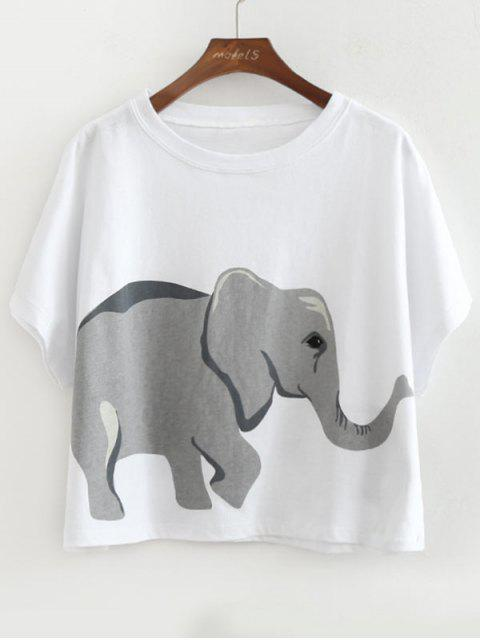 womens Loose Cotton Elephant Top - WHITE ONE SIZE Mobile