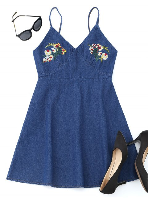 women Denim Floral Embroidered Pinafore Mini Dress - DEEP BLUE L Mobile